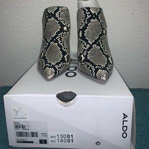 Aldo snake skin open back heel